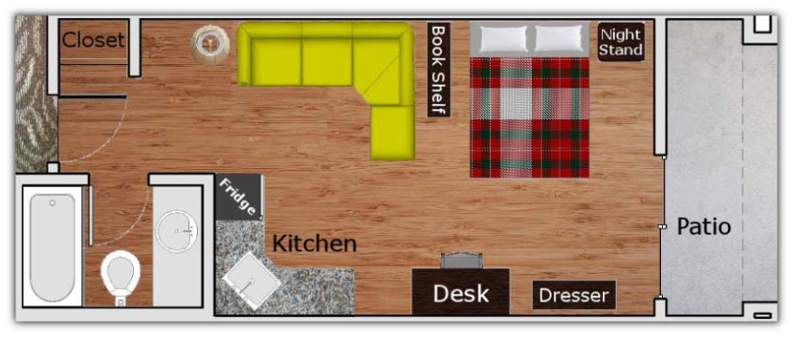 Floor plan drawing showing the layout of the studio apartment.